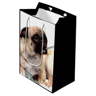 健康なパグ犬のギフトバッグをすぐに得て下さい ミディアムペーパーバッグ