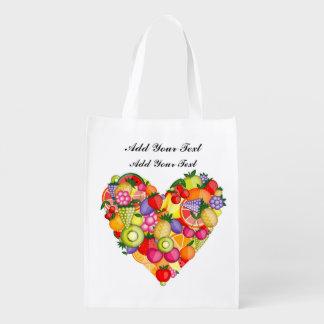 健康なフルーツのハートの食料雑貨、ギフト、好意のバッグ エコバッグ