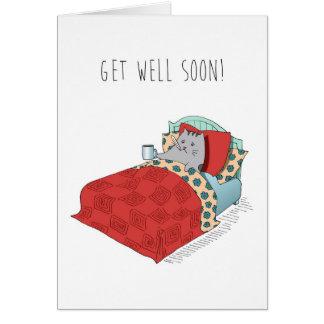 健康な感じによりよく冷たいインフルエンザを病気のかわいいおもしろカード得て下さい カード