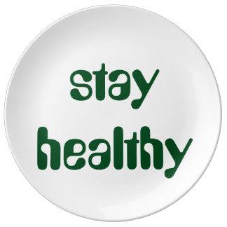 健康な滞在 磁器プレート