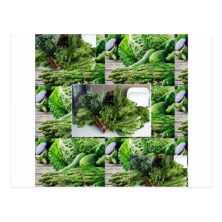 健康な緑葉菜サラダシェフの料理 ポストカード