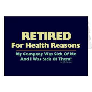 健康の理由の発言のために退職した カード
