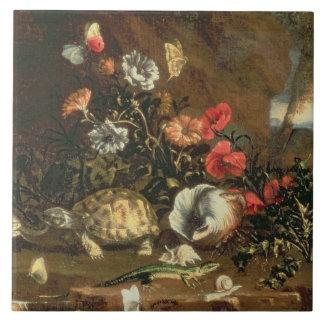 側アザミ、花、ハ虫類および蝶 タイル