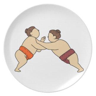 側面のモノラルラインを押しているRikishiの相撲のレスリング選手 プレート