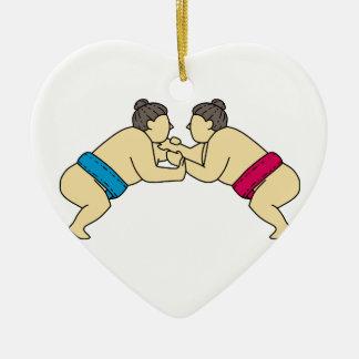 側面のモノラルラインを苦闘しているRikishiの相撲のレスリング選手 セラミックオーナメント
