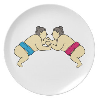 側面のモノラルラインを苦闘しているRikishiの相撲のレスリング選手 プレート