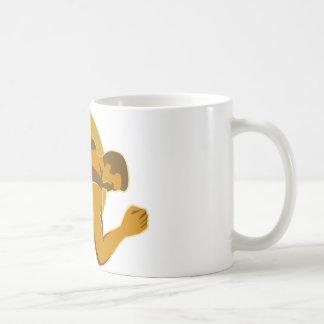 側面のレトロのスタイルを投げる円盤投げ選手 コーヒーマグカップ