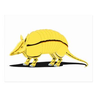 側面の黒のストライプを持つ黄色か金アルマジロ ポストカード