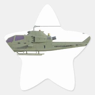 側面図のプロフィールのアパッシュのヘリコプター 星シール