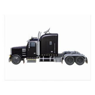 側面図の完全なライトが付いている半黒のトラック ポストカード