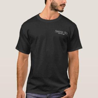 偶然の事故の黒前部か背部デザイン Tシャツ