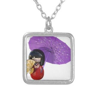 傘が付いている桜の人形 シルバープレートネックレス
