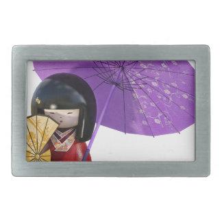 傘が付いている桜の人形 長方形ベルトバックル