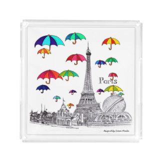 傘のパリエッフェル塔との旅行 アクリルトレー