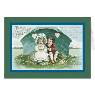 傘の下のバレンタイン カード