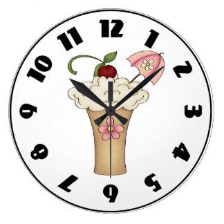 傘の時計が付いているミルクセーキ ラージ壁時計