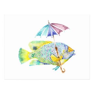 傘を持つなま臭い魚 ポストカード