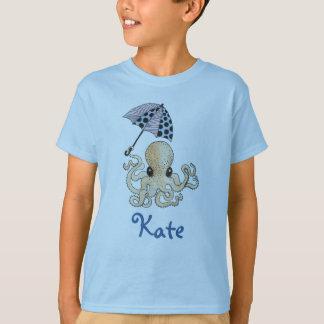 傘を持つタコ: カスタマイズ可能な子供の名前 Tシャツ