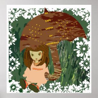 傘ポスターの下で安全があって下さい ポスター