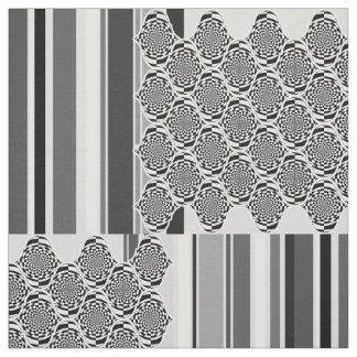 催眠ストライプなパターン黒及び白 + あなたのアイディア ファブリック