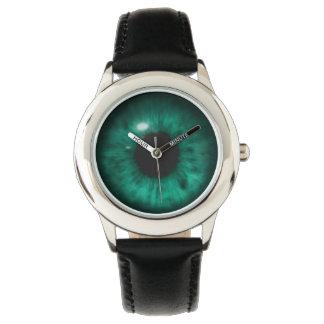 催眠性の深い水の海洋の緑の瞳の網膜 腕時計