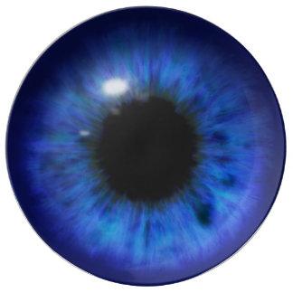 催眠性の深い青い目 磁器プレート