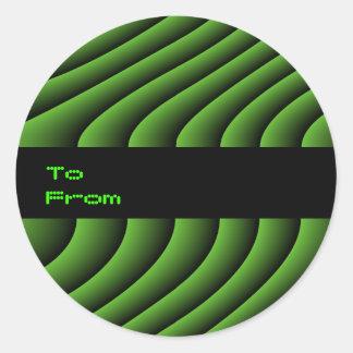 催眠性の緑の波状ラインカスタムなギフトta ラウンドシール