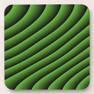 催眠性の緑の波状ラインコルクのコースター コースター
