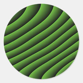 催眠性の緑の波状ラインステッカー ラウンドシール