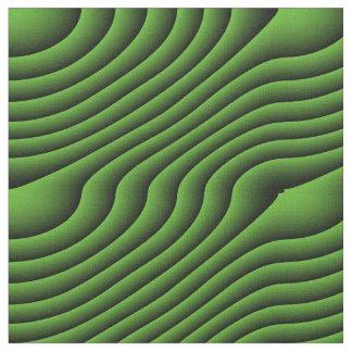 催眠性の緑の波状ラインパターン(の模様が)あるな生地 ファブリック