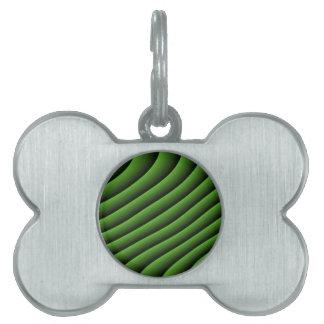 催眠性の緑の波状ラインペットタグ ペットネームタグ