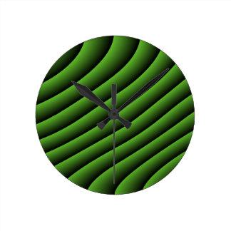 催眠性の緑の波状ライン柱時計 ラウンド壁時計