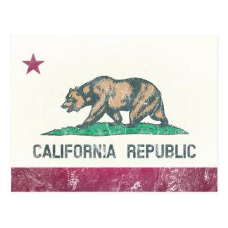 傷付けられたカリフォルニア共和国の旗 ポストカード