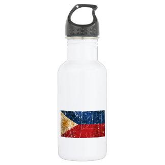 傷付けられ、擦り切れたなヴィンテージのフィリピン人の旗 ウォーターボトル