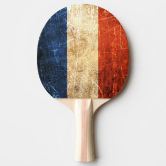 傷付けられ、擦り切れたなヴィンテージのフランス人の旗 卓球ラケット