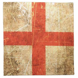 傷付けられ、擦り切れたなヴィンテージの英国の旗 ナプキンクロス