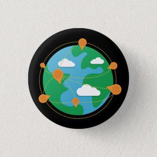 傷日の地球ボタン(黒) 3.2CM 丸型バッジ