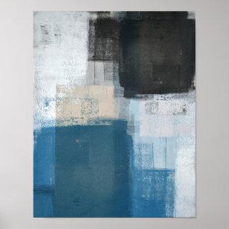 「傾けられた」青およびブラウンの抽象美術 プリント