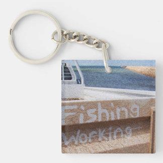 働かないビーチの空の突堤桟橋のユート語の採取 キーホルダー