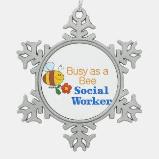 働き者のソーシャルワーカー スノーフレークピューターオーナメント