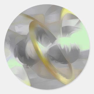 優れたな欲求のパステルの抽象芸術 丸形シール・ステッカー