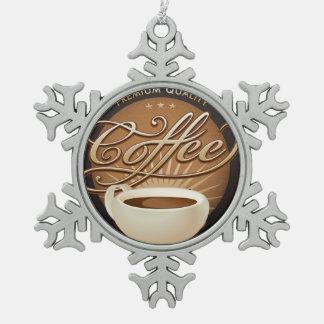 優れたコーヒーおよびコーヒーカップ スノーフレークピューターオーナメント