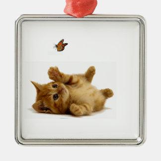 優れた正方形のオーナメントのための猫のイメージ メタルオーナメント