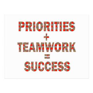 優先順位のチームワークの成功の知恵の低価格のギフト ポストカード