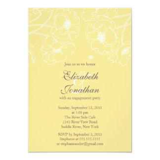 優美で黄色いケシの花柄の婚約パーティ カード