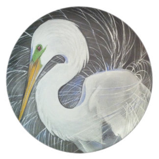 優美な白鷺のプレート プレート