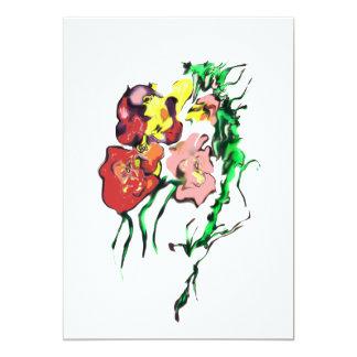 優美な花の招待カード カード