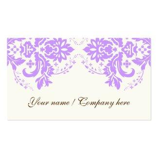 優雅なダマスク織のモチーフの紫色の象牙色 ビジネスカードテンプレート
