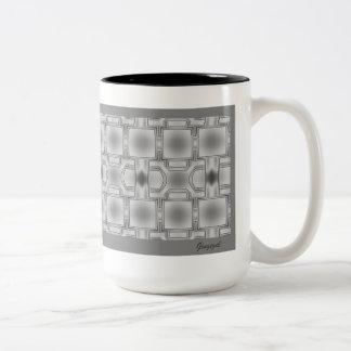 優雅に灰色のパターン(の模様が)あるなマグ ツートーンマグカップ