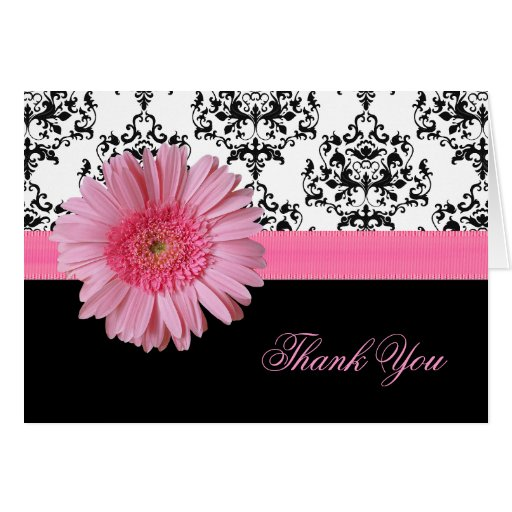 優雅 ダマスク織 & ピンク ガーベラ デイジー 感謝していして下さい  カード